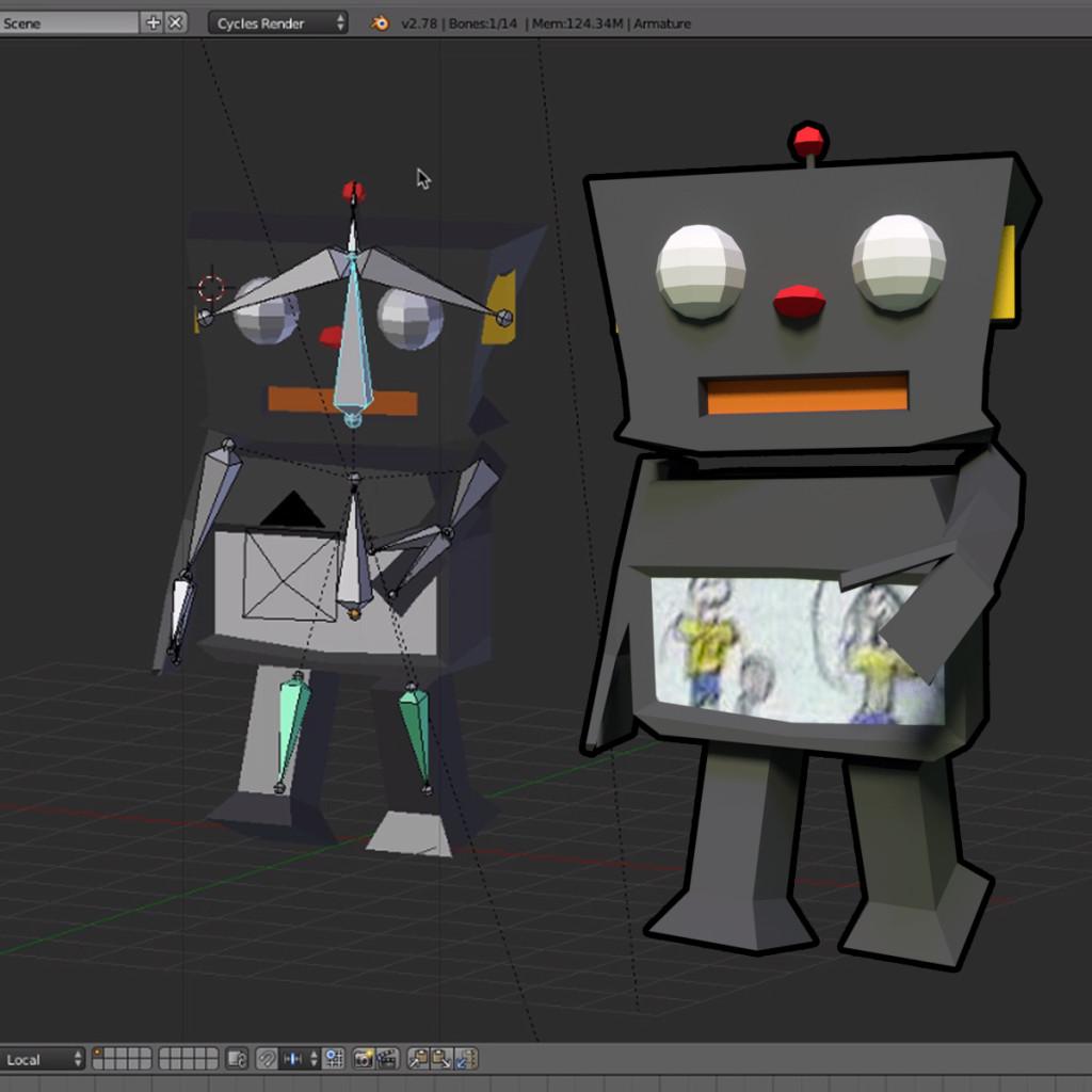 """A esquerda, o robô com """"ossos"""" (rigging) e a direita a pose exportada."""