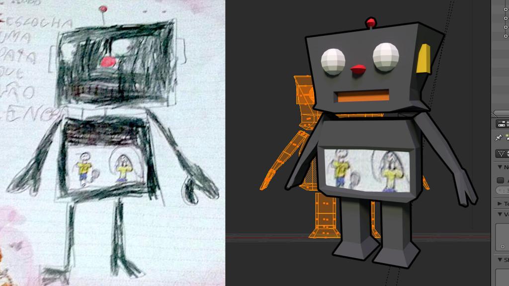 Do lado esquerdo, o desenho enviado pela Isadora, do lado direito, o modelo final em 3D criado no Blender!